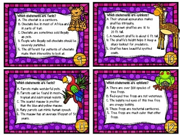 Fact or Opinion? Set Two-16 Task Cards