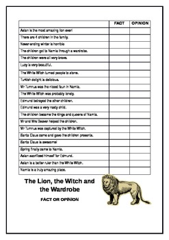 Fact or Opinion?  Statements from The Lion, the Witch & the Wardrobe