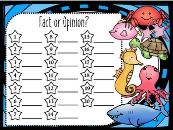 Fact or Opinion? TASK CARDS - Ocean Themed