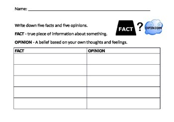 Fact or Opinion Table Editable