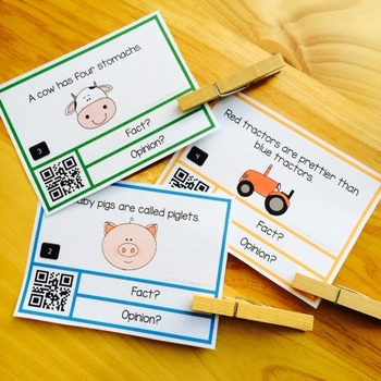 Fact or Opinion Task Cards with QR Codes
