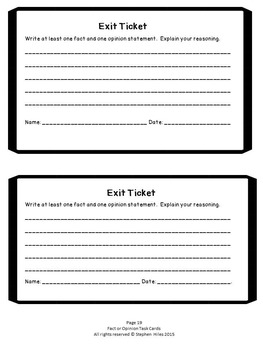 Fact or Opinion Task Cards: Grades 3-5