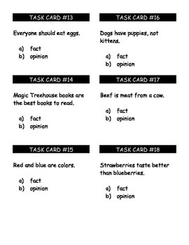Fact or Opinion Task Cards/ Center Cards