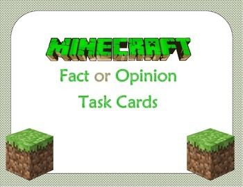 Fact or Opinion Task Cards (Minecraft Theme)