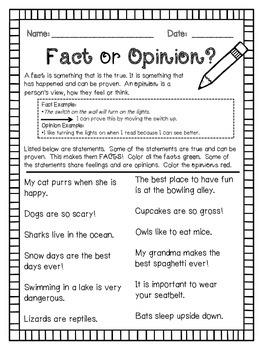 Fact or Opinion Worksheet FREEBIE