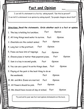 Fact or Opinion Worksheet-2nd Grade