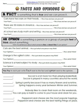 Fact or Opinion Packet + Test