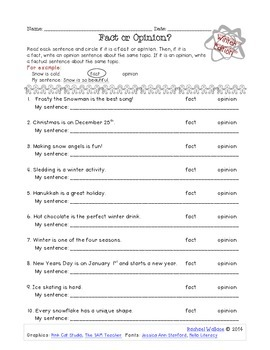 Fact or Opinion Worksheet: Winter Edition FREEBIE