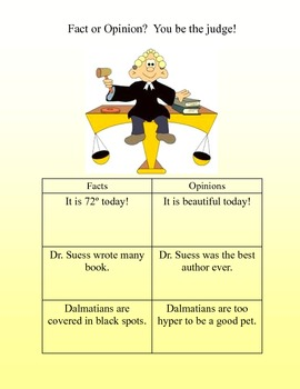Learning Center Grades 2-3 Fact or Opinion? You be the Judge