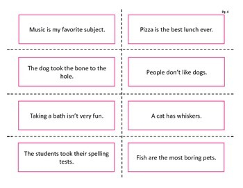 Fact or opinion sentence sorting activity