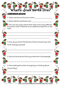 Fact v. Fiction Christmas Santa Claus Close Reading Passages & Questions
