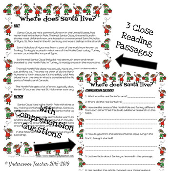 Fact v. Fiction Christmas Santa Claus Close Reading Passages & Questions