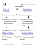 Fact vs. Opinion AND Objective vs. Subjective - Worksheet