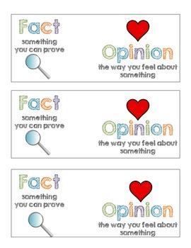 Fact vs. Opinion Bookmark