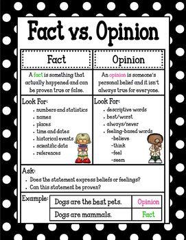 Fact vs. Opinion Poster/Mini-Anchor Chart