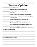 Fact vs. Opinion Practice Activity - Worksheet
