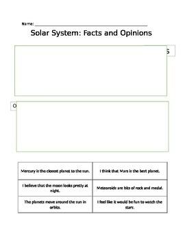Fact vs. Opinion: Solar System