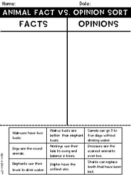 Fact vs. Opinion Sort