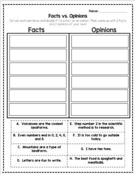 Fact vs. Opinion Sort