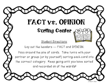 Fact vs. Opinion Sorting Center and Practice Worksheet
