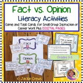 Fact vs. Opinion: 3 Literacy Activities: Small Group Work/Centers/Game/Quiz