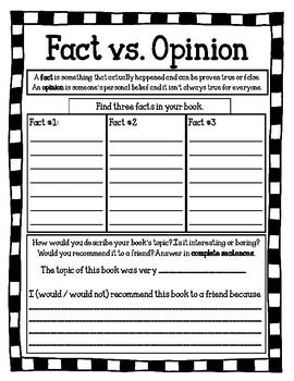 Fact vs. Opinion Worksheet