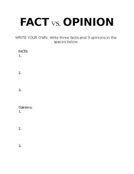 Fact vs. Opinion Worksheet Identifying Fake News Series