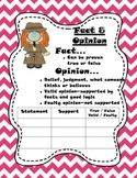 Fact/Opinion Anchor Chart