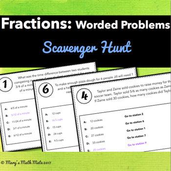 Fractions: Worded Problem Scavenger Hunt - Single & Multi-step