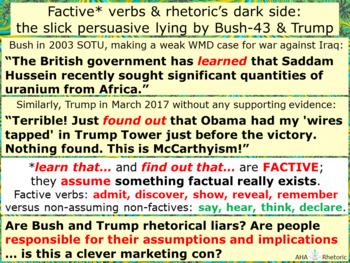 Factive verbs & rhetoric's dark side: slick persuasive lying by Bush & Trump