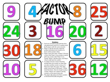 Factor Bump - A 2-Player Game to Practice Identifying Factors