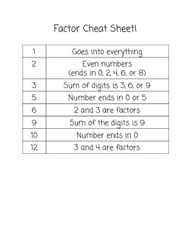 Factor Cheat Sheet