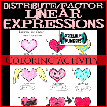 Factor Distribute Linear Expressions Valentine's Day Heart Coloring Activity