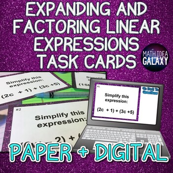 Expanding and Factoring Expressions Task Cards