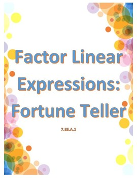 Factor Expressions Fortune Tellers