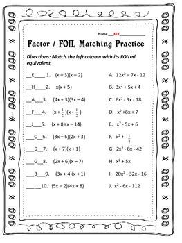 Factor FOIL: Practice & Activity