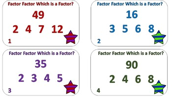 Factor Factor Which Is A Factor? Task Cards