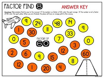 Factors Activity Factor Find Worksheets