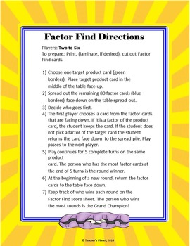 Factor Games -Factor Find!