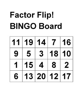 Factor Flip, Common Core Math Activities for grades 6-7