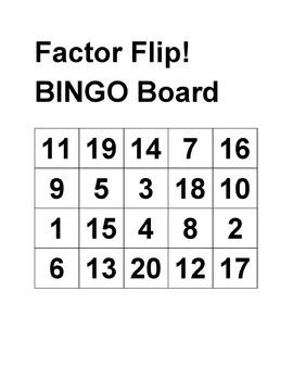 Factor Flip, Common Core Math Activities for grades 6-7
