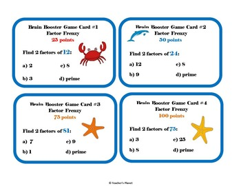 Factor Games - Factor Frenzy Brain Booster Game Cards/ Task Cards!