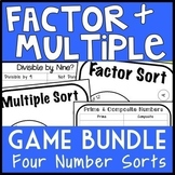 Factor & Multiple 4-Game Bundle, Fourth Grade Number Sense Games, Math Centers