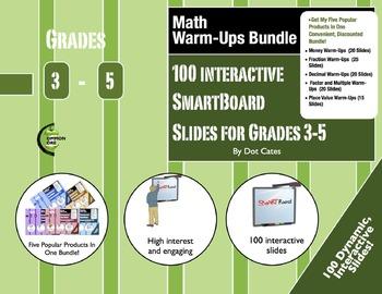 Math Warm-Ups Bundle: 100 Interactive SmartBoard Activitie