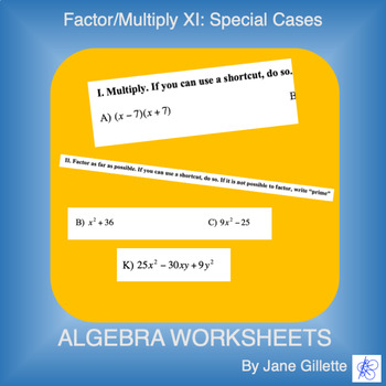 Factor/Multiply XI: Special Cases