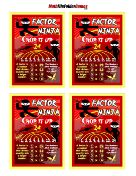 Factor Ninja {Poster/Anchor Chart with Cards for Students}