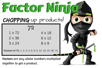 Factor Ninja Poster anchor chart
