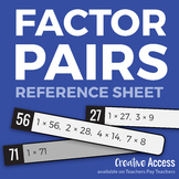 Factor Pairs 1-75 Reference Sheet