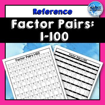 Factor Pairs Chart 1-100 - A Cheat Sheet for Factoring Quadratic Trinomials