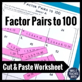 Factor Pairs Cut and Paste Worksheet 4.OA.4